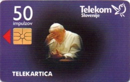Slovenia, Slovenija, Slowenien, Telekom Slovenije - TS014. Phonecard - Pope 1996. 80.000 Pieces Issued. - Slowenien