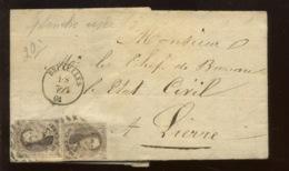 Lettre 1-7-1861 Avec 2 X 10A. Planche 8 Selon L'ancien Collectionneur, Planche Usée  Jolie Pièce Documentaire - 1858-1862 Medallions (9/12)