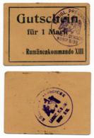 1914- 1918 // P.O.W. // Bon De Prisonnier De Guerre RUSSE // RUMÄNENKOMMANDO XIII // 1 Mark - Bons & Nécessité