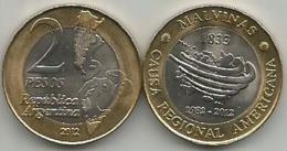 Argentina 2 Pesos 2012. MALVINAS High Grade - Argentinië
