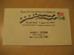 BALTIMORE 1989 Pledge Of Allegiance Fort McHenry Day Flag Flags Cancel Cover USA - Sobres