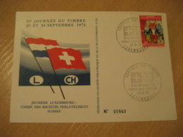 LUXEMBOURG 1972 Expo Phil Switzerland Flag Flags Cancel Card - Briefe