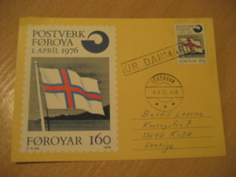 TORSHAVN 1976 Denmark Flag Flags Cancel Maxi Maixmum Card FAROE ISLANDS - Covers