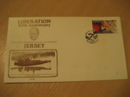 JERSEY 1985 40th Anniversary Liberation WW2 Militar CHURCHILL Flag Flags Cancel Postal Stationery Cover CHANNEL ISLANDS - Briefe