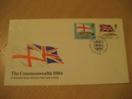 GUERNSEY 1984 The Commonwealth Flag Flags FDC Cancel Cover CHANNEL ISLANDS - Briefe