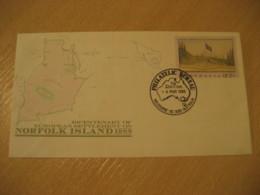 MELBOURNE 1988 Norfolk Island Bicentenary European Settlement Europeism Flag Flags Cancel Stationery Cover AUSTRALIA - Briefe