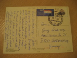 MOSSEL BAY 1991 1977 Air Mail Label Flag Flags Stamp On Cancel Post Card RSA South Africa - Briefe