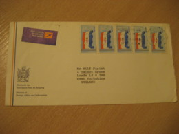 CAPE TOWN 1984 To Leeds England Flag Flags 5 Stamp On Air Mail Label Cancel Cover RSA South Africa - Briefe