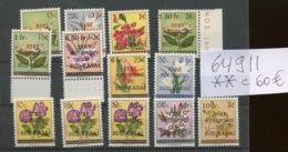 Fleurs Série Complète 13 Valeur. Cote 60,00 Euros - Sud-Kasaï