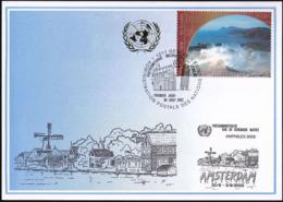 UNO GENF 2002 Mi-Nr. 333 Blaue Karte - Blue Card  Mit Erinnerungsstempel AMSTERDAM - Cartas