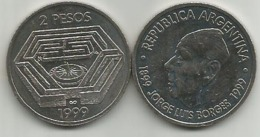 Argentina 2 Pesos 1999. Jorge Luis Borges High Grade - Argentinië