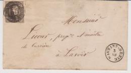 Lettre Datée Du 3 VII (1852) De D65 WARNANT-DREYE Avec Type 18 Vers Lavoir (arrivée Huy). Très Belle - 1851-1857 Medaillen (6/8)