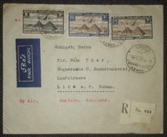 Ägypten 1936, Reco-Brief MiF Flugpost, ASWAN - LINZ - Égypte