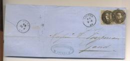 2x10c Sur Lettre D'Anvers à Gand  9 Avril 1860 - 1858-1862 Medallions (9/12)