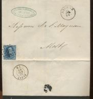 20c Sur Lettre D'Anvers à ALOST. 1864 - 1863-1864 Medallions (13/16)