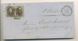 PAIRE DU 10c Sur Lettre D'Anvers à ALOST. 1864  (un Timbre Defectueux Coin Sup.G.) - 1858-1862 Medallions (9/12)