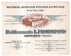 ETABLISSEMENTS L.FROIDEFOND LIBOURNE (GIRONDE) MATERIEL AGRICOLE VITICOLE ET VINICOLE MOTEURS - Publicidad