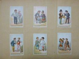 Une Série De 6 Belles Chromos Collées - Scènes Habillement, Tailleur, Gant, Costume - Unclassified