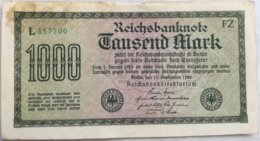 Billete Alemania. 1000 Marcos. 1922 - [ 3] 1918-1933 : República De Weimar