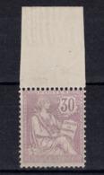 TIMBRE MOUCHON RETOUCHÉ N° 128 30c VIOLET NEUF * Avec GRAND BORD DE FEUILLE (COTE 350€) - 1900-02 Mouchon