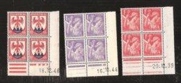 France Coins Datès N° 433 De 1939 Et 651 De 1944 Et 758 De 1946 MNH Neufs Sans Charniéres - Coins Datés