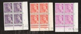 France Coins Datès N° 410 De 1938 Et 415 De 1939 Et 548 De 1942 MNH Neufs Sans Charniéres - Coins Datés