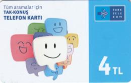 TURKEY - Gülen Yüz ,Eyül 2016, Incard - IN4 ,4₤ Turkish Lira ,03/14, Used - Turquie