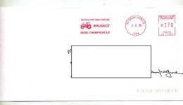 Lettre Flamme Ema Champagnolle Jura Motoculture Brugnot Theme Tracteur - Marcophilie (Lettres)
