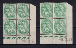 LOT De 2 COINS DATÉS NEUF ** Au TYPE BLANC N° 111 5c VERT-BLEU Avec DATES DIFFÉRENTES 1928 & 1929 - 1900-29 Blanc