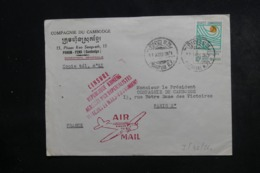 CAMBODGE - Enveloppe Commerciale De Phnom Penh Pour Paris En 1971, Cachet De Censure Khmere - L 46353 - Cambodge