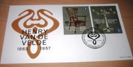 FDC Van 2013 België  7365/66(o) Eerstedagstempels Henry Van De Velde - Chandelier Et Chaise (Kandelaar + Stoel) - FDC