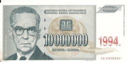 YOUGOSLAVIE 10 MILLION DINARA 1994 VF P 144 - Joegoslavië