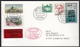 Germany Berlin 31. 12. 1991 / Letzter Tag Der Kursgültigkeit - Mischfrankatur Deutsche Post / DDR Bund Berlin - Brieven En Documenten