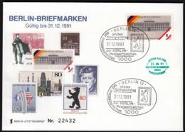 Germany Berlin 31. 12. 1991 / Letzten Gültigkeitstag Der Berlin Postwerzeichen / Last Day Of Post Berlin - Brieven En Documenten