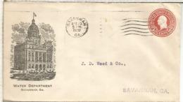 ESTADOS UNIDOS USA 1920 SAVANNAH ENTERO POSTAL WATER DEPARTMENT AGUA - Minerales