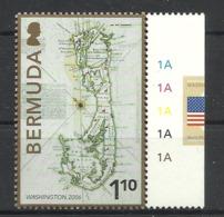 BERMUDA  2006  WASHINGTON EXHIBITION,MAP MNH - Bermudes