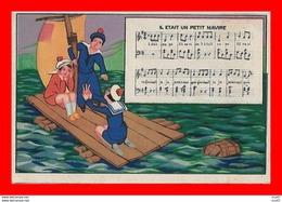 4 CPA CHANSONS.  Il était Un Petit Navire / Nous N'irons Plus Au Bois / Il Pleut Bergère / Malbrough...CO2187 - Musica E Musicisti