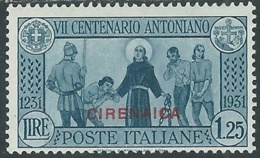 1931 CIRENAICA S. ANTONIO 1,25 LIRE MH * - RB28 - Cirenaica