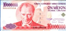 TURKEY 5000000 1,000,000 LIRA 1997 1 MILLION ATATURK   BANKNOTE - Turkije