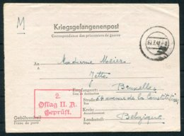 1942 Germany Kriegsgefangenpost POW Stalag II-A Censor - Bruxelles Belgium. Belgian Officer (Captain) Prisoner Of War - Germany