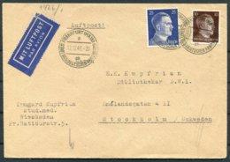 1943 Germany Frankfurt Airmail Censor (tape) - Stockholm - Germany