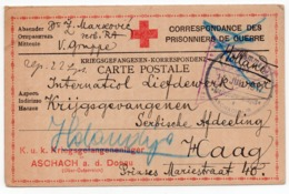 1917 WWI, AUSTRIA, ASCHACH A.D. DONAU, SERBIAN POW CARD SENT TO RED CROSS SECTION HAAG, HOLLAND, CENSORED IN VIENNA - Covers & Documents