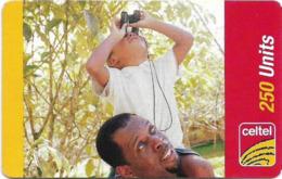 Sierra Leone - Celtel - Man And Child With Binoculars, GSM Refill 250Units, Used - Sierra Leone