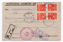 1949 YUGOSLAVIA, CROATIA, ZAGREB, REGISTERED MAIL TO GERMANY, RETOUR - 1945-1992 République Fédérative Populaire De Yougoslavie