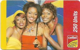 Sierra Leone - Celtel - 3 Young Women With Umbrella, GSM Refill 250Units, Used - Sierra Leone