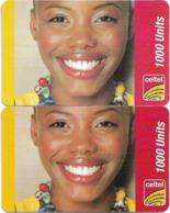 Sierra Leone - Celtel - Smiling Girl, GSM Refill 1000Units, (2 Backside Variations), Used - Sierra Leone