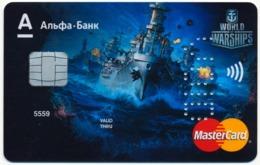 RUSSIA - RUSSIE - RUSSLAND ALFA BANK SAMPLE MASTERCARD BANK CARD WORLD OF WARSHIPS - Andere Sammlungen