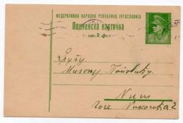 1949 YUGOSLAVIA, MACEDONIA, 2 DINARA TITO,  SKOPJE TO NIS, STATIONERY CARD, USED - Entiers Postaux