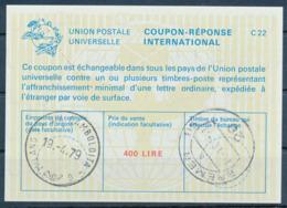 MILANO  -  19.4.79  ,  La22  ,  400 LIRE  -  Redeemed  BREMEN   -  Reply Coupon Reponse , Antwortschein - 6. 1946-.. Repubblica