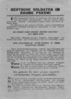 "WWII WW2 Flugblatt Tract Leaflet Soviet Propaganda Against Germany ""DEUTSCHE SOLDATEN IM RAUME PSKOW!"" CODE 27 (1) - 1939-45"